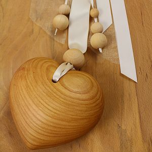 Wood And Ribbon Hanging Heart Decoration - decorative accessories
