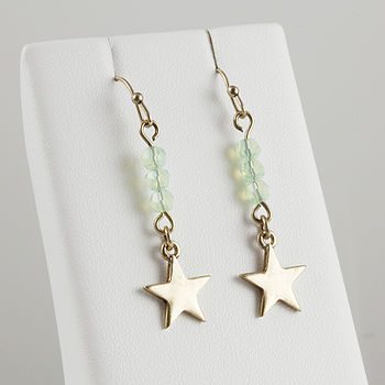 Chrysolite Opal (jade) drop star earrings
