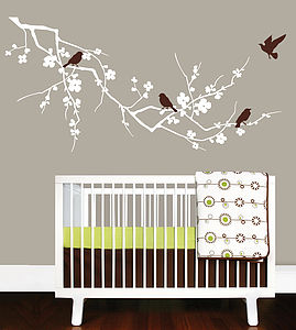 Childrens Birds On Branch Wall Stickers - wall stickers