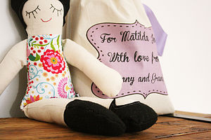Handmade Doll With Personalised Bag - soft toys & dolls