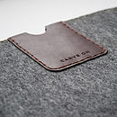 Wool Sleeve with Dark Brown Leather