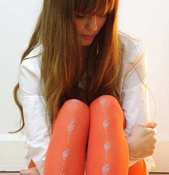 Bright coral ice-cream tights