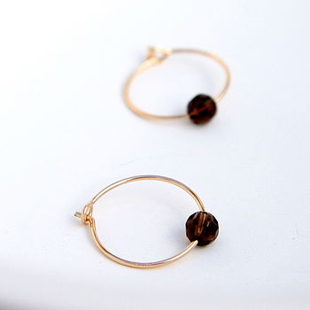 Petite Smokey Quartz Hoop Earrings