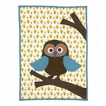 Eco Friendly Owl Quilted Baby Blanket