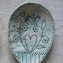Framed Ceramic Spoons Coloured Background (Teal underglaze)