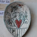 Framed Ceramic Spoons Coloured Background (Teal underglaze and red heart)