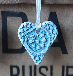 Vintage Lace Ceramic Love Heart - hanging decorations