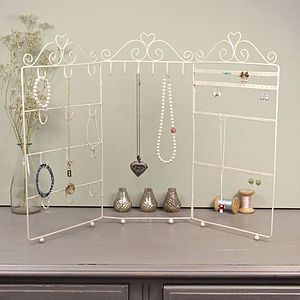Cream Triple Frame Jewellery Stand - jewellery stands