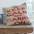 'Keep Calm And Carry On' Cushion