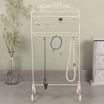 Cream Earring And Necklace Stand