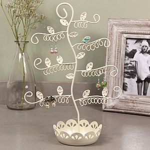 Flowery Tree Earring Stand With Dish