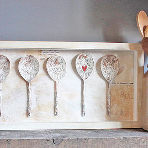 Framed Set Of Five Ceramic Spoons - personalised