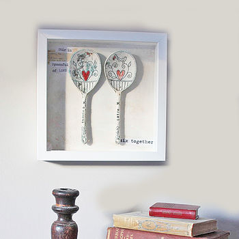 Personalised Framed Ceramic 'Love' Spoons