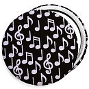 Musical Notes Compact mirror, white notes on black background
