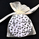 Musical Notes compact mirror, each supplied in an organza bag