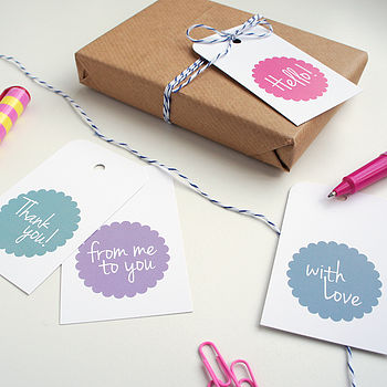 Set Of Eight Message Gift Tags