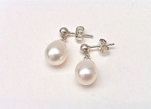 Pearl Drop Silver Stud Earrings - earrings