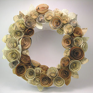 Paper Rose Vintage Style Wedding Wreath - flowers & plants