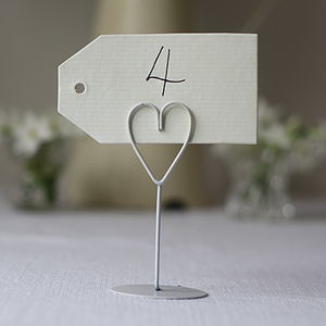 Set Of Eight White Heart Name Place Holders - table decorations