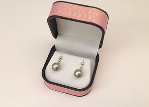 Silver Studs With Grey Pearl Drop - earrings