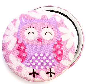 ''Pink Owl'' Pocket Mirror
