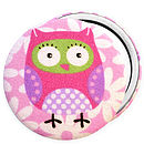 'Pink Owl' Pocket Mirror