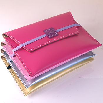candy pink, floss pink, silver and gold wallets