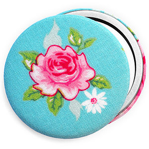 ''Turquoise Rose'' Compact Mirror