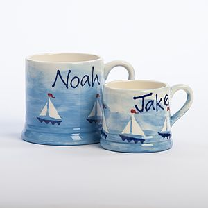 Personalised Hand Painted Boats Mug - mugs