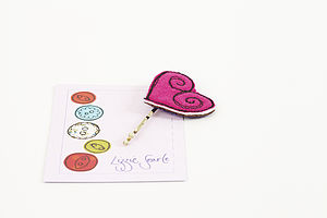 Embroidered Linen Heart Hairgrip - hair accessories