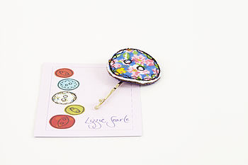 Embroidered Vintage Floral Button Hairgrip