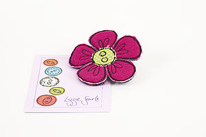 Embroidered Flower Polka Dot Brooch - women's jewellery