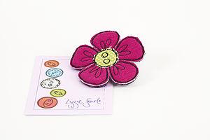 Embroidered Flower Polka Dot Brooch