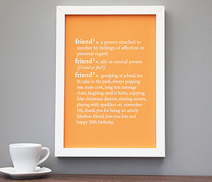 Personalised 'Friend' Dictionary Print - personalised art