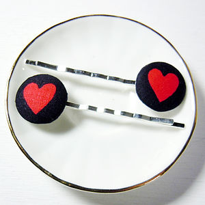 Heart Fabric Hair Clips