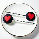 Heart Fabric Hair Clips
