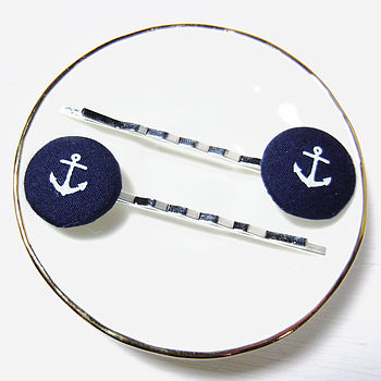 Anchor Fabric Hair Clips