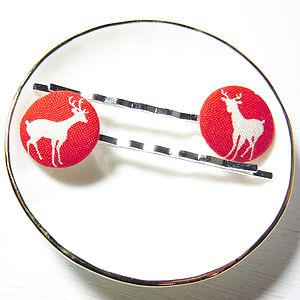 Red Deer Fabric Hair Clips