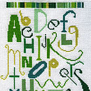 Green  Alphabet sampler Cross Stitch Kit