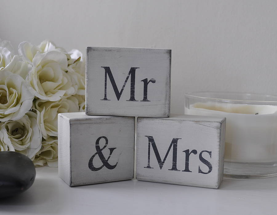 Mr And Mrs Large Wooden Letters: 'mr And Mrs' Distressed Block Letters By Hush Baby