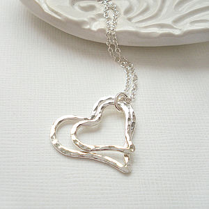 Hammered Heart Necklace - wedding jewellery