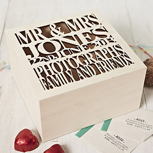 Personalised Wooden Wedding Gift Keepsake Box - home