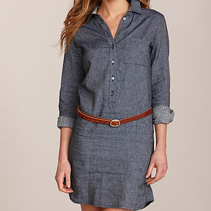Women's Cotton Linen Shirt Dress - shirts