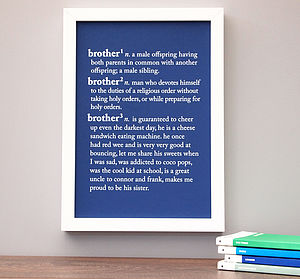 'Brother' Or 'Sister' Dictionary Print - gifts for brothers