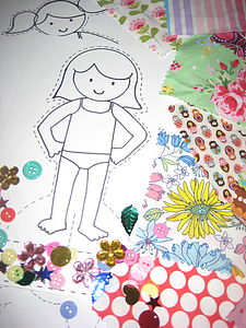 Dress Me Paper Doll And Fabric Craft Kit