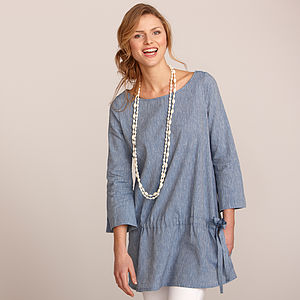 Cotton Linen Chambray Tunic Dress - luxury fashion