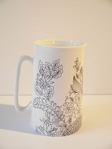 Bone China Jug Jacobean Design, Medium