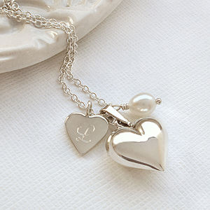 Personalised Double Heart Silver Necklace - charm jewellery