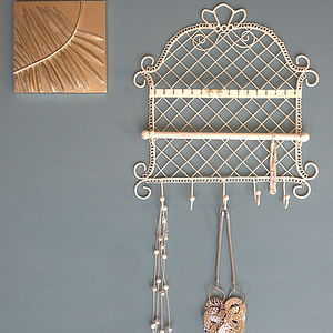 Cream Wall Jewellery Hanger - jewellery storage
