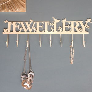 Large 'Jewellery' Necklace Hooks And Hanger Cream - women's sale